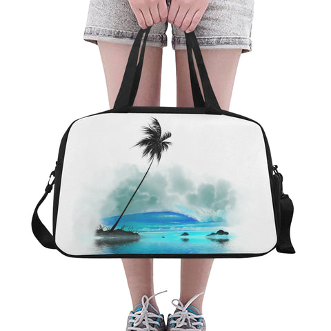 Blue Tropical Wave- Tote And Cross-body Travel Bag (Black) (Model 1671)