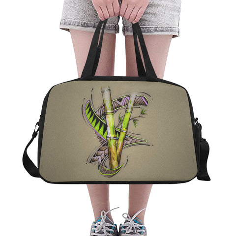 Bamboo Dreams Tote And Cross-body Travel Bag (Black) (Model 1671)