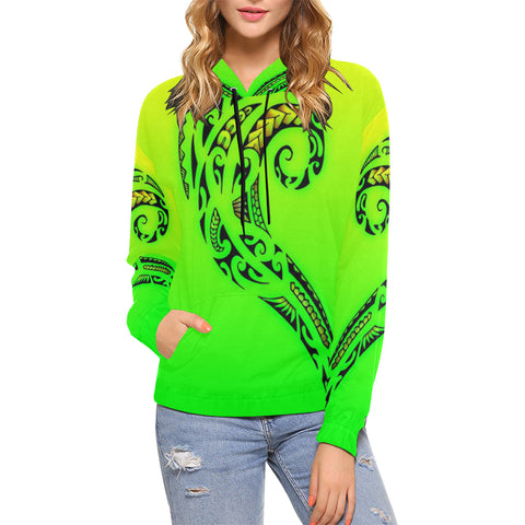Green Polynesian Tribal-Women's All Over Print Hoodie (USA Size) (Model H13)