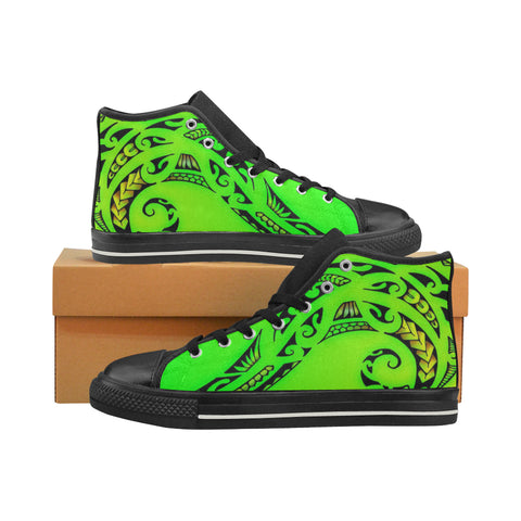 Green Polynesian Tribal -Aquila High Top Canvas Men's Shoes (Model 017) (Made In USA)