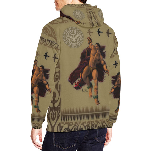 Polynesian Boar Hunter- Men's All Over Print Hoodie Large Size (USA Size) (Model H13)