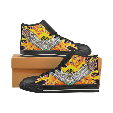 Flaming Filipino Sun- Aquila High Top Canvas Men's Shoes (Model 017) (Made In USA)