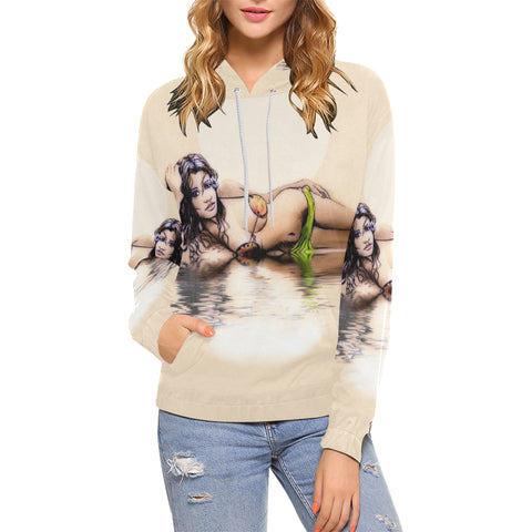 Coconut Wahine-Women's All Over Print Hoodie (USA Size) (Model H13)