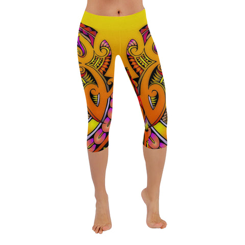 Modern Maori Tribal -All-Over Low Rise Capri Leggings (Model L08)