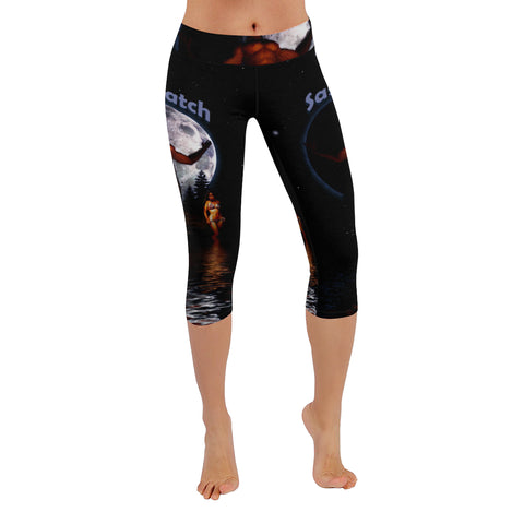 Sasquatch Babe Scream- All-Over Low Rise Capri Leggings (Model L08)