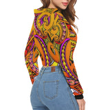 Modern Maori Tribal-Women's All Over Print Cropped Hoodie (Model H22)