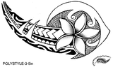 Plumeria Flower Polynesian Style Tattoo Design. (Polystyle-3-5in.) *Digital)