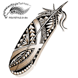 Polynesian Style Feather Tattoo Design. (Polystyle-31-6in.) *Digital)