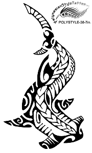 Polynesian Style Shark (Mano) Tattoo Design. (Polystyle-38-7in.) *Digital)