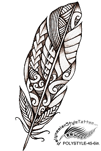 Polynesian Style Feather Tattoo Design. (Polystyle-45-6in.) *Digital)