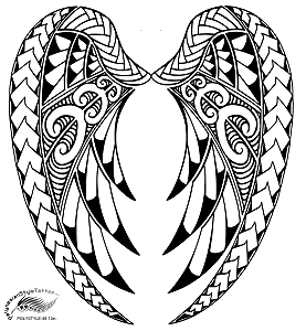 Polynesian Style Angel Wings Tattoo Design Polystyle 46 13in