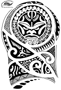 Tiki Face 1/2 Sleeve Polynesian Style Tattoo Design. (Polystyle-5-12in.) *Digital)