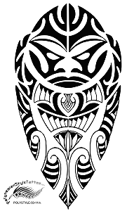 Polynesian Style Tiki Face Tribal Tattoo Design.(Polystyle-50-11in.) *Digital)