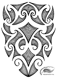 Polynesian Style Maori Inspired Tribal Tattoo Design. (Polystyle-51-11in.) *Digital)