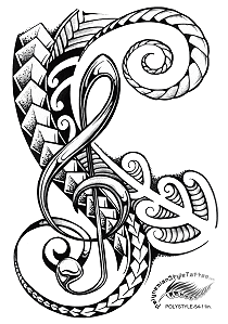 Polynesian Style Maori Inspired Music Tribal Tattoo Design .(Polystyle-54-11in.) *Digital)