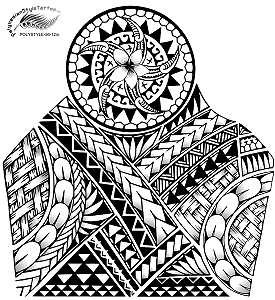 Polynesian Style 1/2 Sleeve Tribal Tattoo Design. (Polystyle-56-12in.) *Digital)