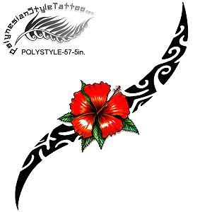 Polynesian Style Hibiscus Flower Tribal Tattoo Design. (Polystyle-57-5in.) *Digital)