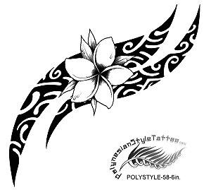 Polynesian Style Plumeria Flower Tribal Tattoo Design. (Polystyle-58-6in.) *Digital)