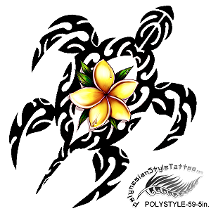 Polynesian Style Plumeria Flower Honu Tribal Tattoo Design