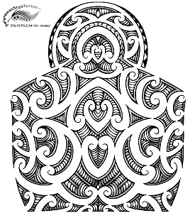 Maori Inspired Polynesian Style Tattoo Design. (Polystyle-64-12in.) *Digital)