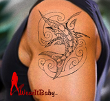 Polynesian Style Marlin Tattoo Design Two (Polystyle-69-10in.) (Digital)