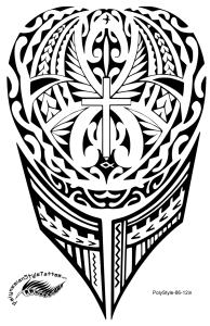 Christian Cross Polynesian Style Tattoo Design. (Polystyle-86-12in.) *Digital)