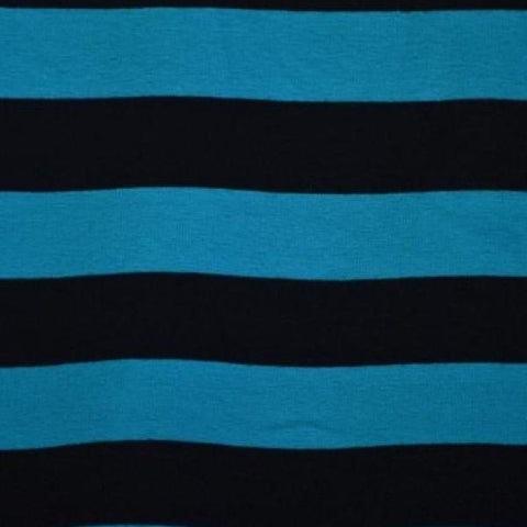 Yarn Dyed Jersey Stripes Teal and Black