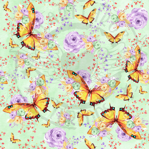 Butterflies on green