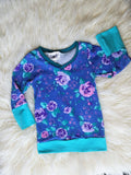 Grow with Me Floral V Neck Long Sleeve 3m-12m * Grow with Me Long Sleeve Shirt * Babies Floral Shirt * Grow with me Baby Shirt * Girly Shirt