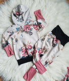 Grow with me Hoodie and Joggers * 3y to 6y Grow with Me Set * Floral Outfit for Girl * Matching Girly Outfit * Girls Hoodie  * Matching set