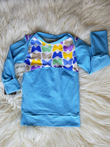 Grow with Me Shirt * 3m-12m * Tagless Baby Shirt * Long Sleeve Tee * Butterflies* Long Sleeve Grow with Me * Girly Baby Shirt