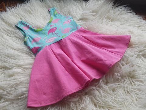 Girls Dress * 4t Dress * Flamingo Dress *Toddler Dress * Summer Outfit * Sleeveless Dress * Play Dress * Tunic Dress * Girly Clothes