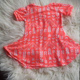 Girls Dress * 2T Dress * Toddler Dress * Summer Outfit * Short Sleeve Dress * Neon Orange * Arrow * Play Dress * Swing Dress * Girly Clothes