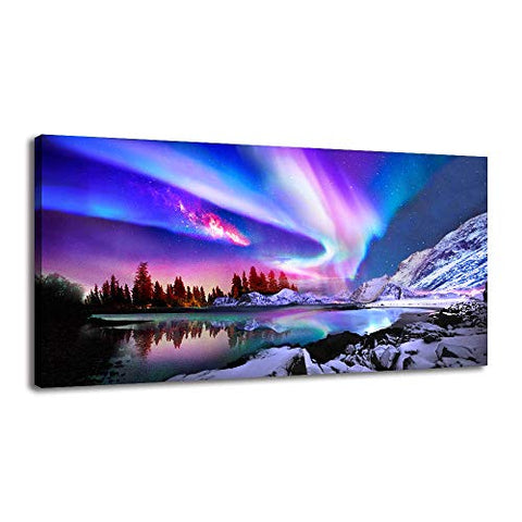 Canvas Wall Art for Bedroom – Pictures for Living Room Decorations Colorful Aurora Borealis Wall Art For Office Décor Northern Lights Nature Pictures Wall Décor Posters and Prints Artwork (20x40inx1)