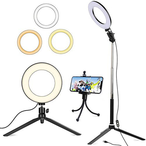 "6"" Ring Light with Tripod Stand for Selfie,Makeup Live Cell Phone Holder,Desktop LED Lamp for YouTube"