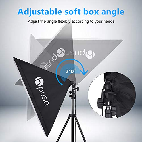 HPUSN Softbox Lighting Kit Professional Studio Photography Continuous Equipment with 85W 5500K E27 Socket Light and 2 Reflectors 50 x 70 cm and 2 Bulbs for Portrait Product Fashion Photography