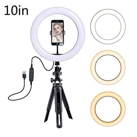 "10"" Selfie Ring Light with Table Tripod & Flexible Phone Holder for Live Stream/Makeup Portable Mini LED Camera Ringlight Social Media Video Clips Smartphone Ring Light Phone Streaming Set (10"")"