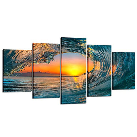 Kreative Arts Large 5 Piece Sea Waves Wall Art Modern Framed Giclee Canvas Prints Seascape Artwork Ocean Beach Pictures Paintings on Canvas for Living Room Home Office Decor (X-Large 80x40inch)