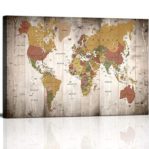 Vintage World Map Canvas Wall Art Picture Large Antiqued Map of The World Canvas Painting Artwork Prints for Office Wall Decor Home Living Room Decorations Framed Ready to Hang Artwork Gift