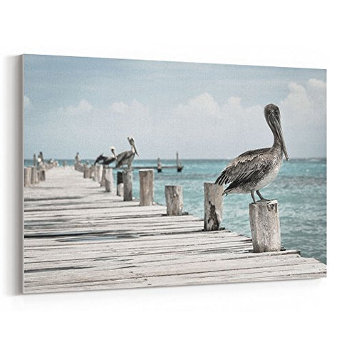 westlake art - Pier Pelican - 24x36 Canvas Print Wall Art - Canvas Stretched Gallery Wrap Modern Picture Photography Artwork - Ready to Hang 24x36 Inch