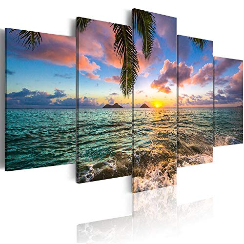 Ocean Beach Wall Art Canvas Print Sea Picture Painting Home Living Room Bedroom Office Decor Sunset (Over Size 60inch x 30inch)