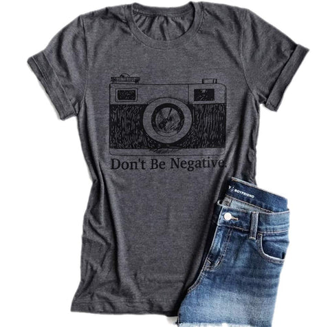 Don't Be Negative Camera Shirt Funny Vintage Photographer Short Sleeve T-Shirt (X-Large) Grey