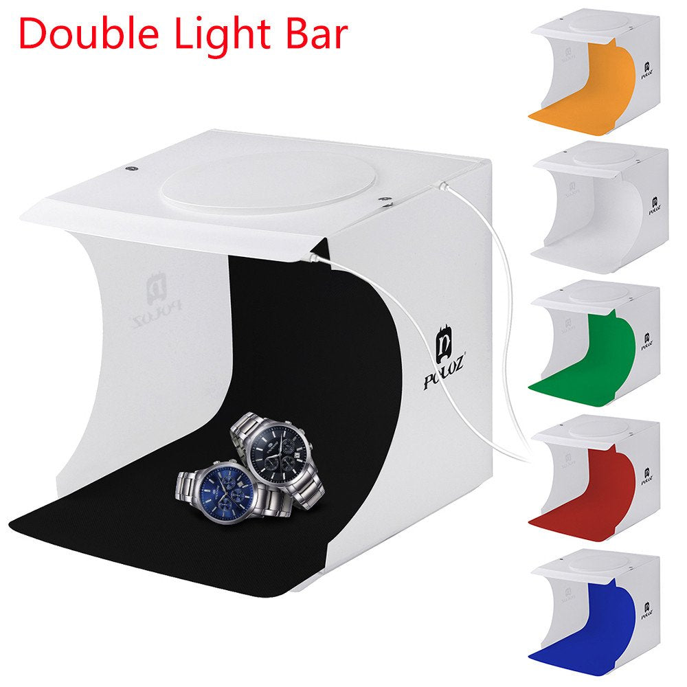 ☀ Dergo ☀ Double LED Light Room Photo Studio Photography Lighting Tent Backdrop Cube Box