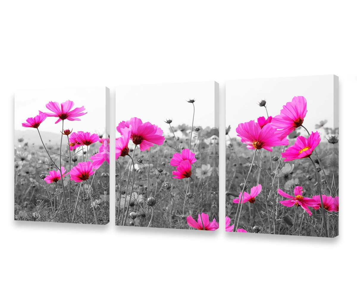 Flowers Canvas Prints Wall Art Pictures Pink Wildflowers Black and White Background 3 Piece Canvas Art Blossom Contemporary Artwork for Bathroom Wall Decor Home Decoration Office Kitchen Wall