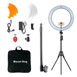 "MOUNTDOG 18"" Ring Light Kit 55W Bluetooth LED Ringlight Lighting with Tripod Stand Dimmable 3200K/5500K YouTube Circle Lighting Ringlights for Makeup Video Photography Blogging Portrait"