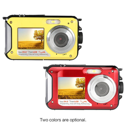 Winait waterproof digital camera 24mp with dual display and rechargeable lithium digital compact video camera