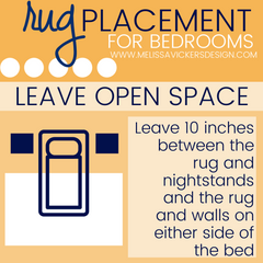 Infographic showing the rug pulled away from the wall and under only the bed.