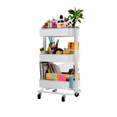 3 tier mobile cart with art supplies on it.