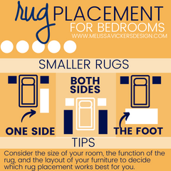 Infographic showing rug on one side of the bed or only at the foot of the bed.