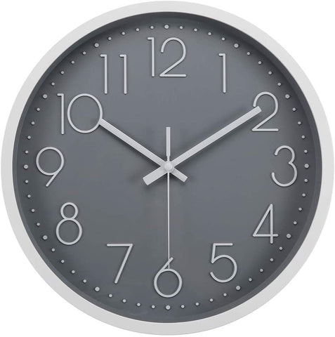 Gray clock with silver outside, silver numbers and dots for the minutes